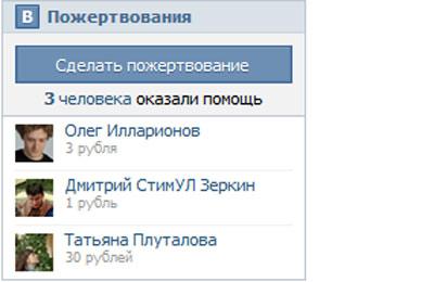 «ВКонтакте» запускает виджет пожертвований