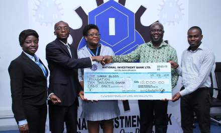 National Investment Bank gives GH¢10,000 to Ghana Blood Foundation