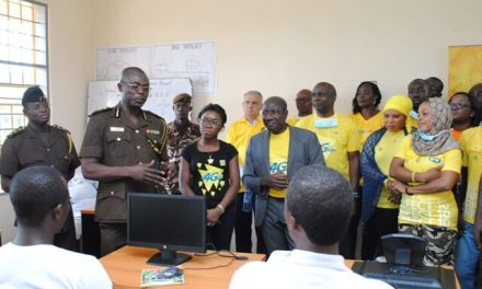 MTN employees fumigate Nsawam Prison and donate computers