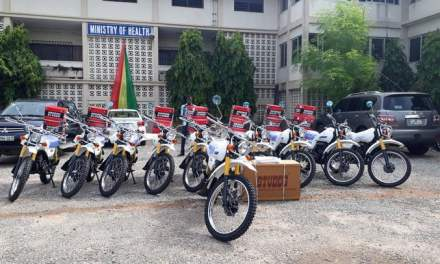 WAHO gives 10 Motorbikes and accessories to Ministry of Health