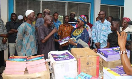 Ghanasco 1973 gives school supplies to alma mater