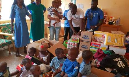 Van Moorhouse gives supplies to St. Joseph Orphanage