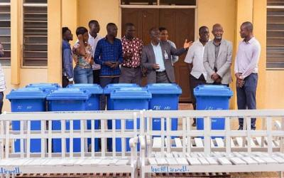 Pentecost University SRC gives benches, trash bins to school