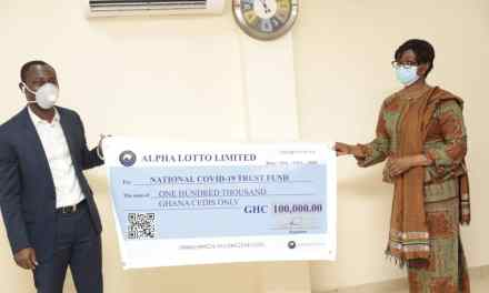 Alpha Lotto donates GHS100,000 to COVID-19 Fund