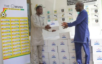 Samuel Owusu gives GFA, clubs hand sanitizers