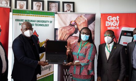 Consolidated Bank Ghana (CBG) donates laptops to support KNUST students in SONSOL Project