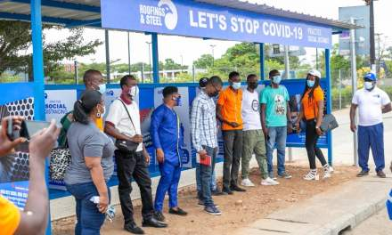 Roofings & Steel Ghana provides bus stop shelters to promote COVID-19 social distancing