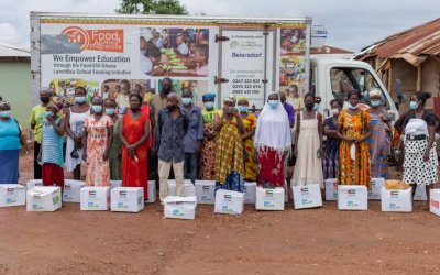 Holystic Nutrition, Food For All Africa, give out 500 food boxes to vulnerable families in Obuasi