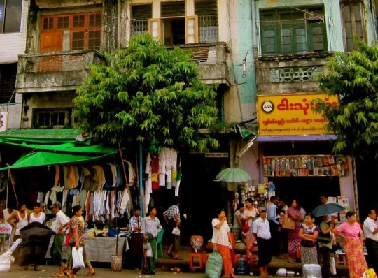a scene from the streets of Yangon Myanmar