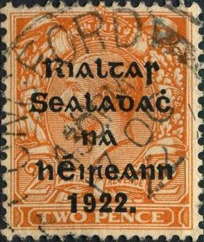 exemple de surcharge de l'Etat libre d'Irlande sur un timbre britannique en 1922