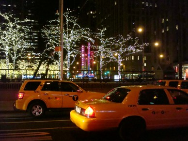 NYC yellow cabs at night