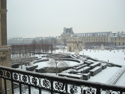 Snow in Paris from the Louvre Starwood Luxury Privileges