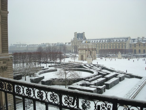 Snow in Paris from the Louvre