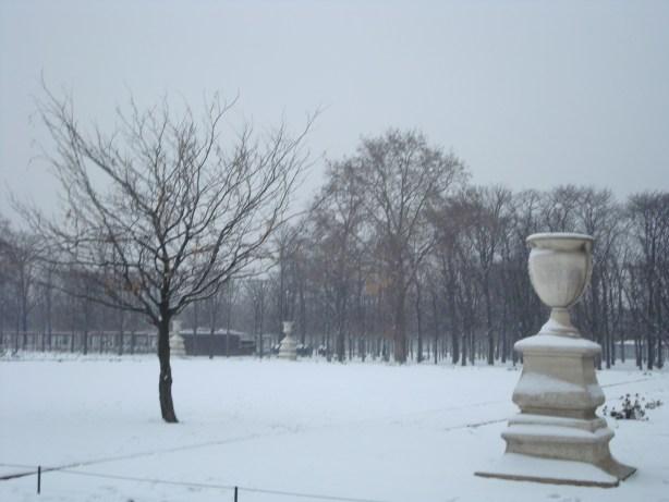 Paris snow in the park