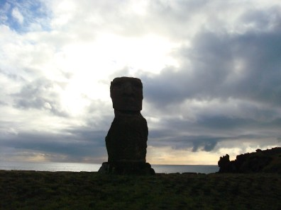 Easter Island Moai in shadow