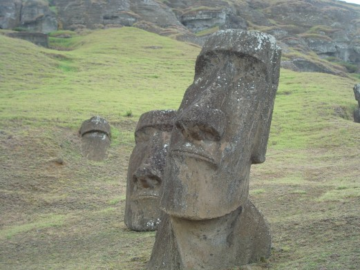 Moai of Easter Island at the Quarry