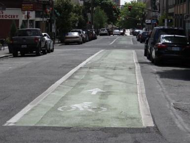 Green bike lanes Portland