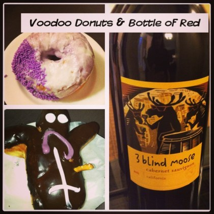Voodoo Doughnuts and 3 Blind Moose wine at Vintage Plaza Portland