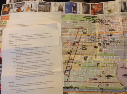 Portland suggestions and map from concierge at Vintage Plaza Portland