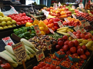 Colorful produce at Pike Place Market