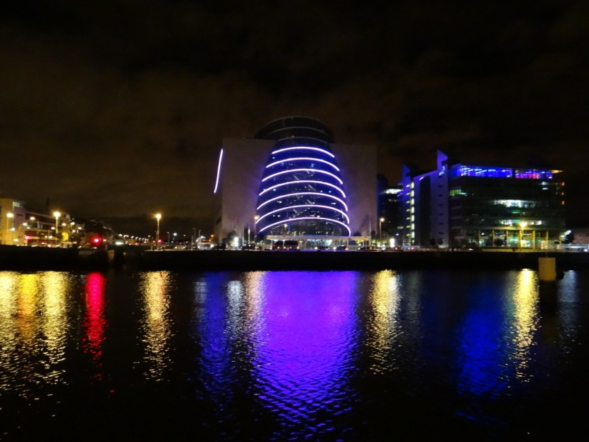Dublin at Night - Convention Center colors reflected on the Liffey River