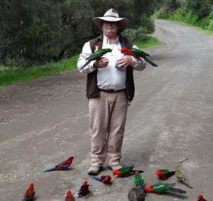 Garry of Longhorn YOUnique tours feeding the birds
