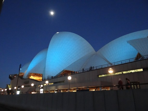 A moonlit view of the Sydney Opera House