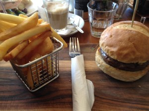 Australian beef burger and chips