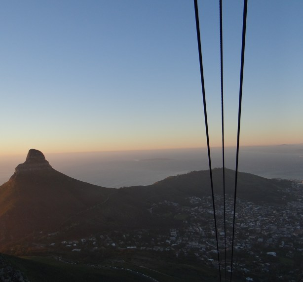 View of Cape Town at sunset from Table Mountain cable car