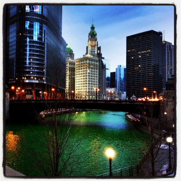Chicago Green River at night