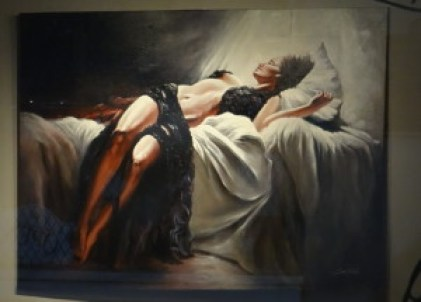 Woman on bed painting
