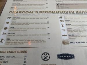 Charcoal's Burger Menu