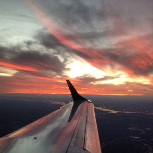 Sunset in Philadelphia from a plane view