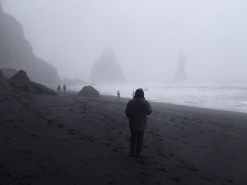 Sea Stacks Fog Black Sand Beach South Coast of Iceland Reynisfjara