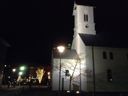 Reykjavik church winter morning