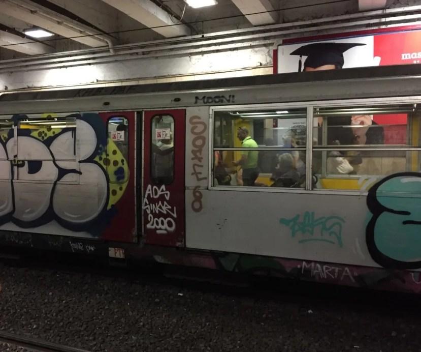 Naples train cars graffiti
