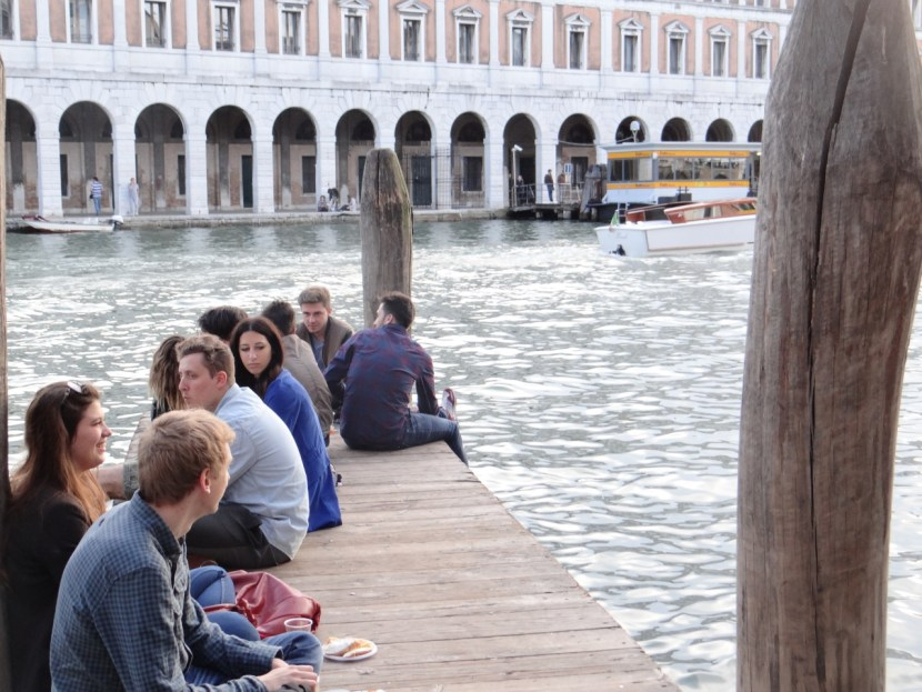 Sitting on the dock Venice Grand Canal