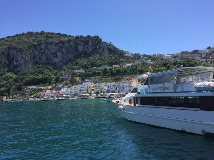 View of Capri from ferry harbor