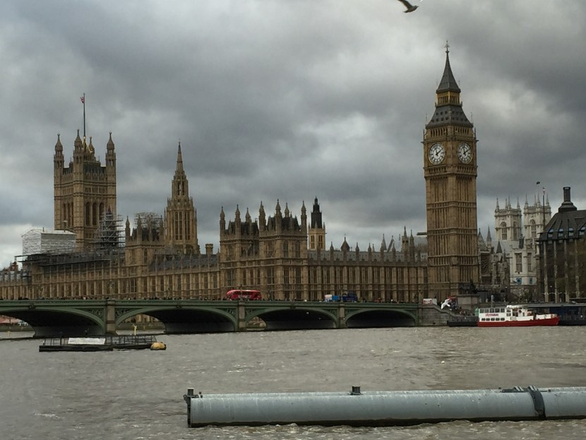 Southbank view of London Parliament and Big Ben