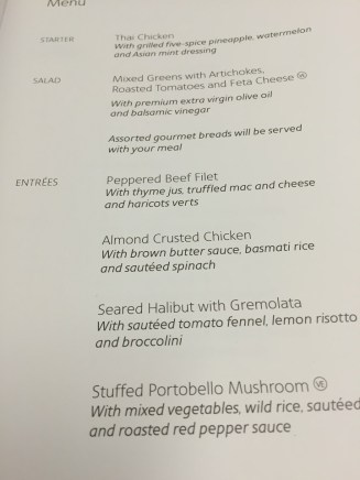 American Airlines Philadelphia to Manchester UK A330 business class menu