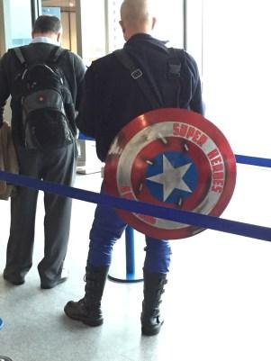 Airport passenger superhero Manchester