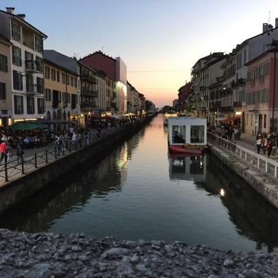 Sunset in Navigli in Milan