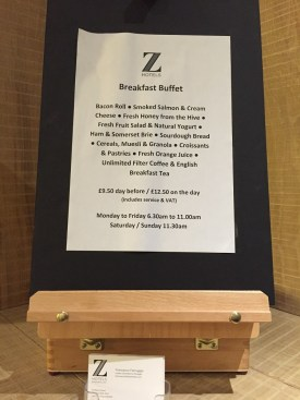 Z Hotel Soho Breakfast Menu
