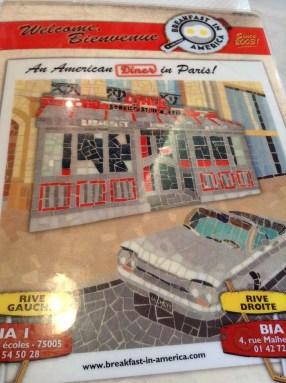 Breakfast in America diner in Paris menu