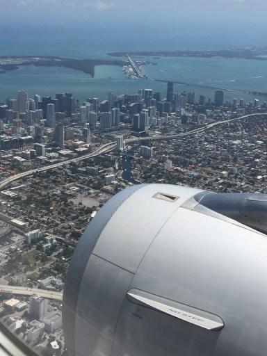 Miami skyline from plane