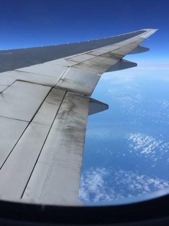British Airways World Traveller Plus view from wing airfare sale