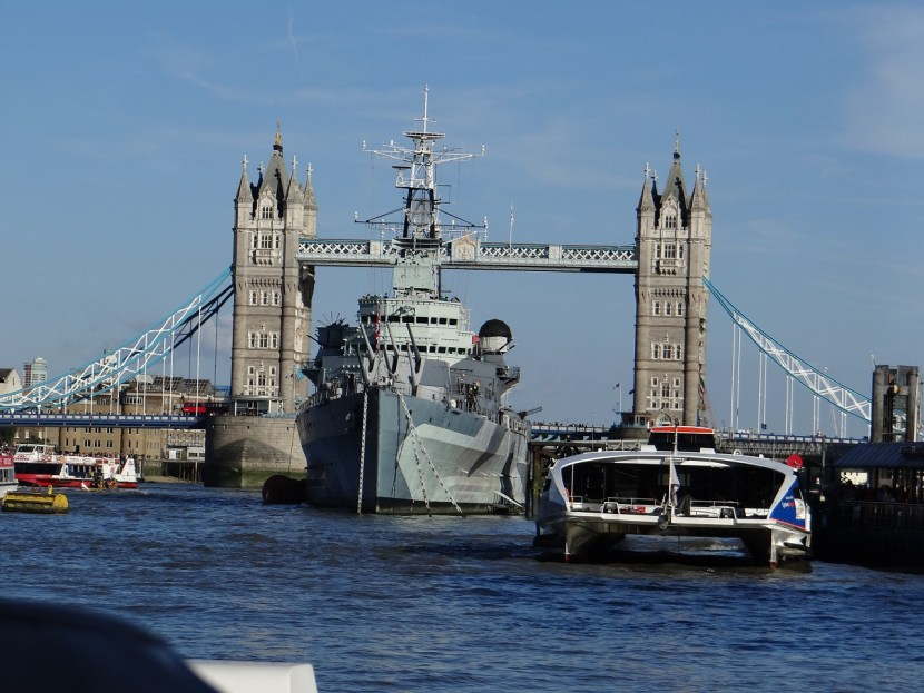 London Tower Bride and HMS Belfast on Thames