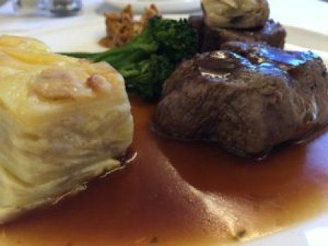 British Airways First Class Steak Dinner