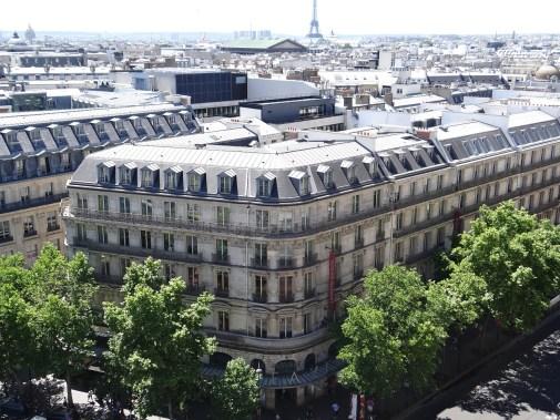 Galleries Lafayette rooftop view of Hausemann buildings Paris