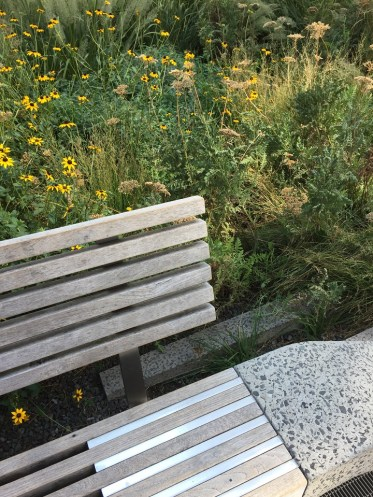 Visiting the High Line Park rail bench